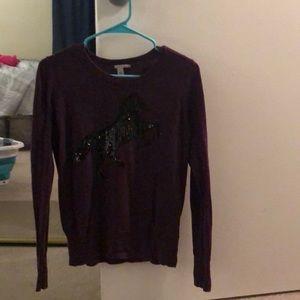 Dark purple sequin horse sweater